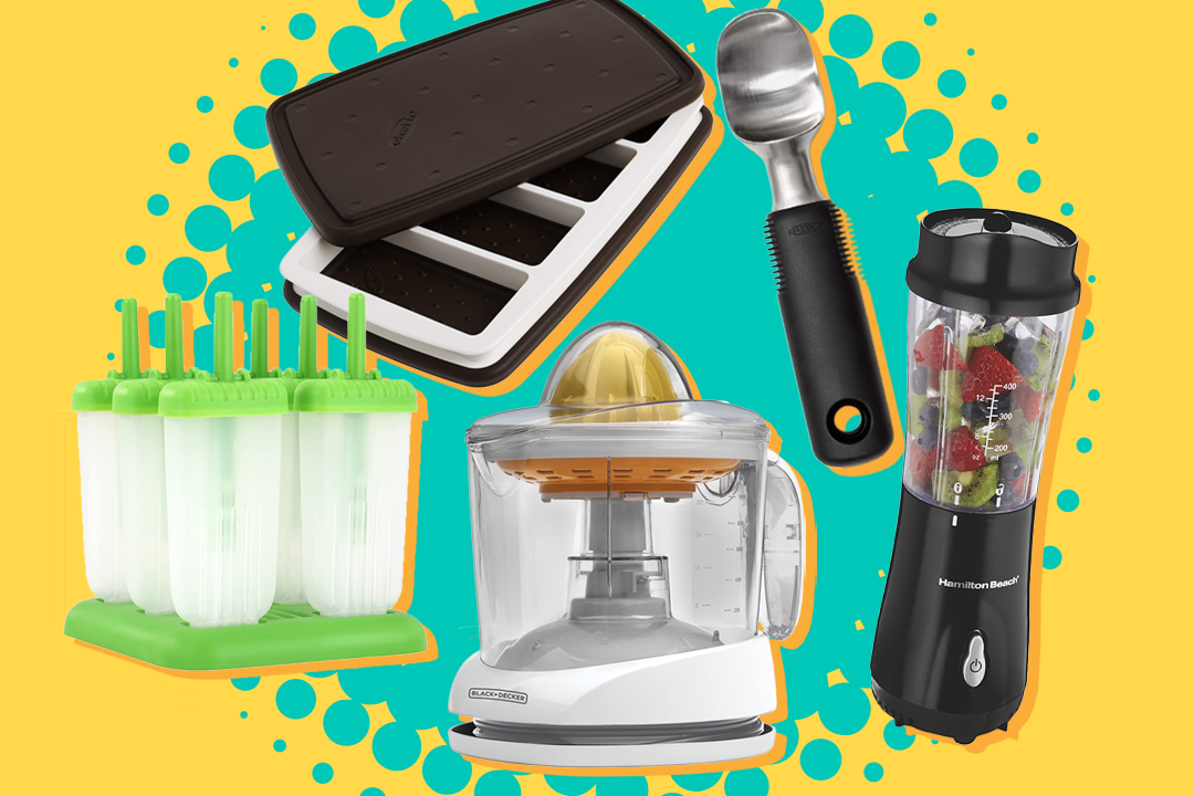 summer treat makers including ice cream sandwich maker, juicer, and ice cream scoop