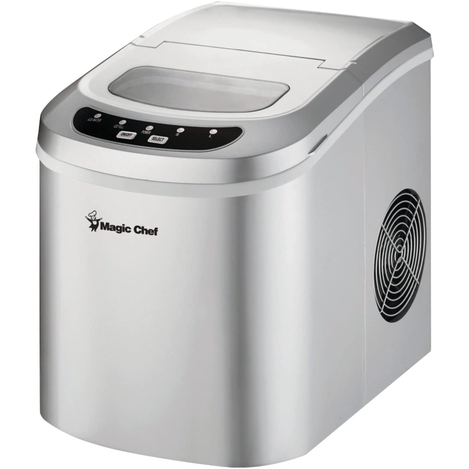 Magic Chef 27-Lb. Portable Countertop Ice Maker in Silver on a white background
