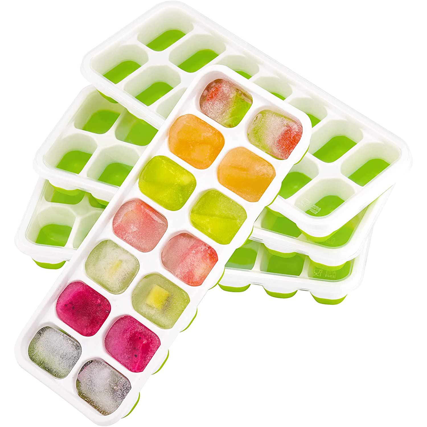 OMORC Ice Cube Trays filled with a variety of colored liquid