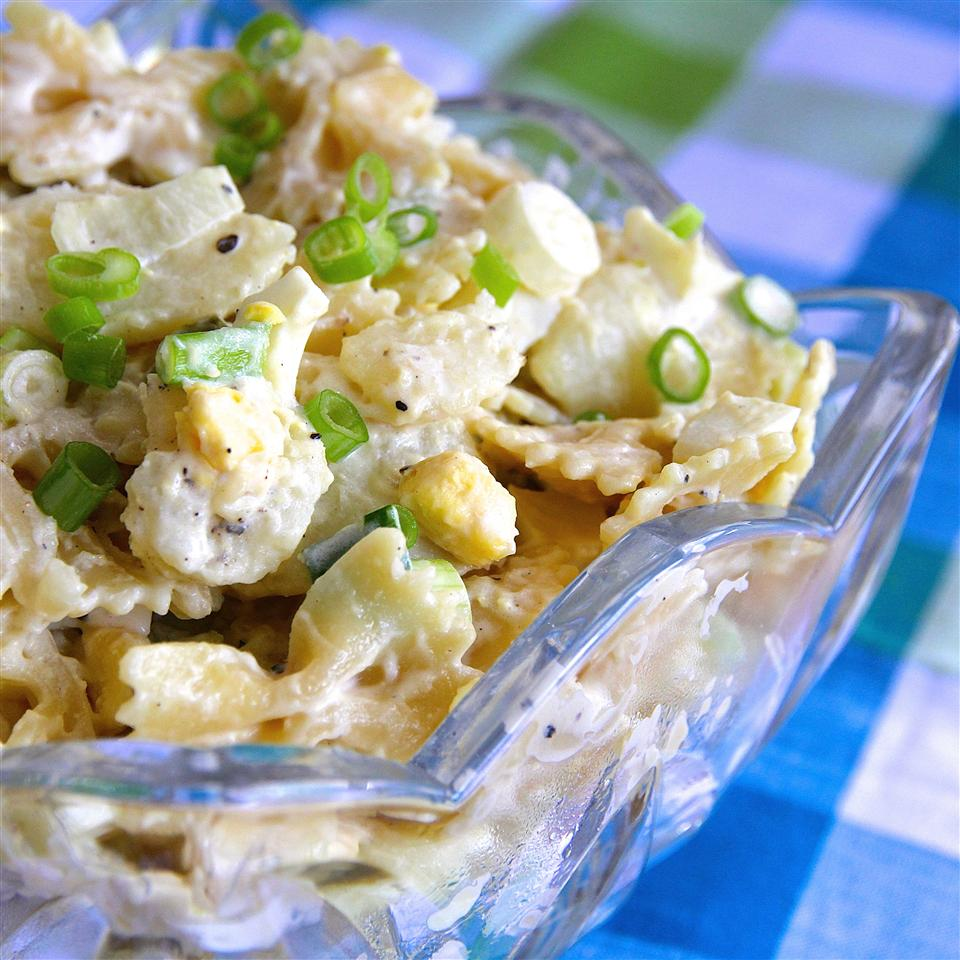 potato and pasta salad with eggs