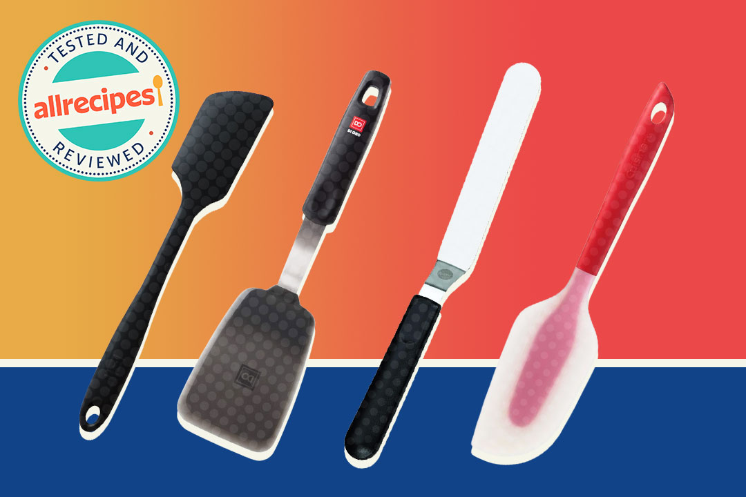 four spatulas on red and blue background