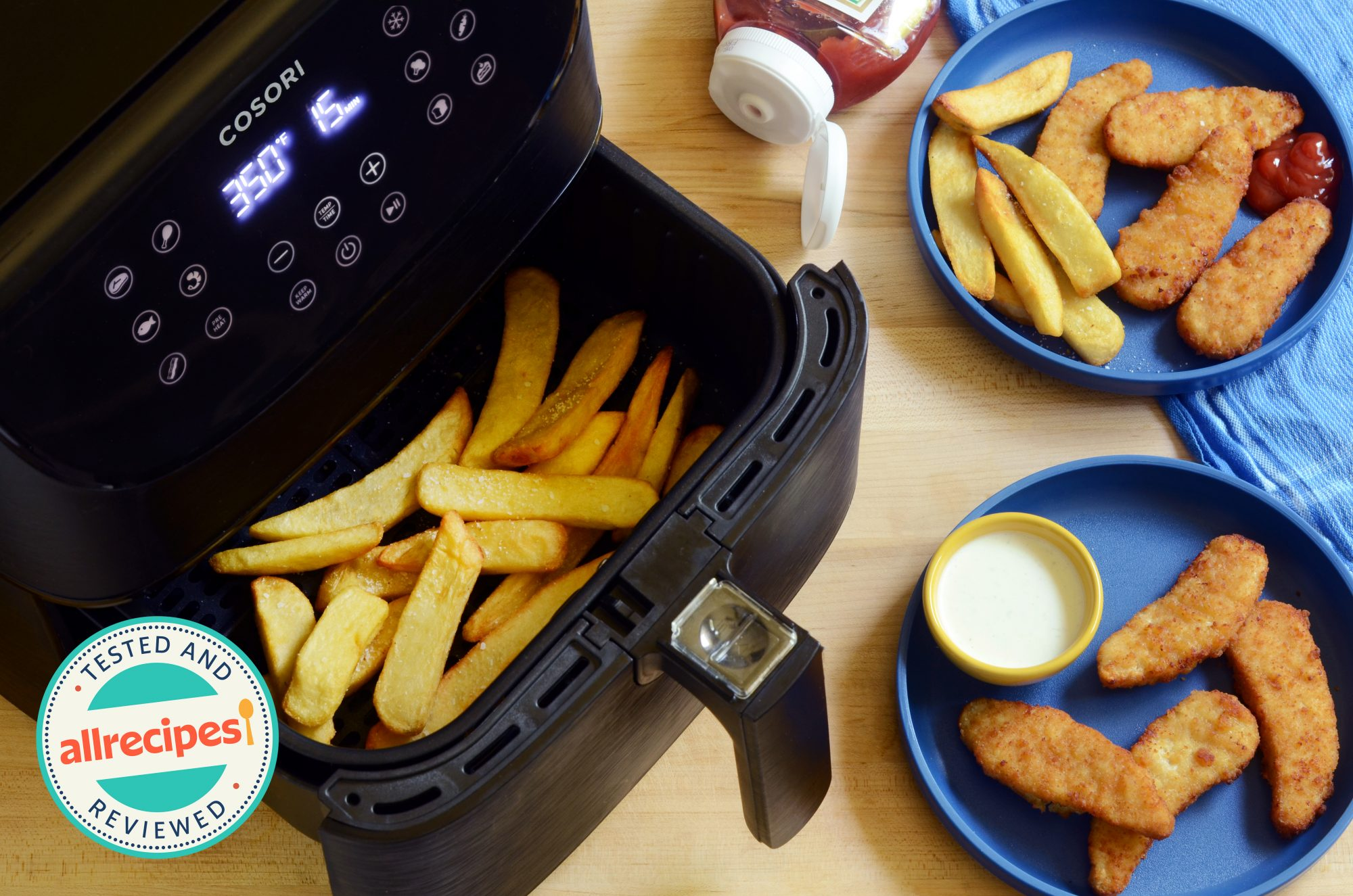 air fryer with nuggets and fries