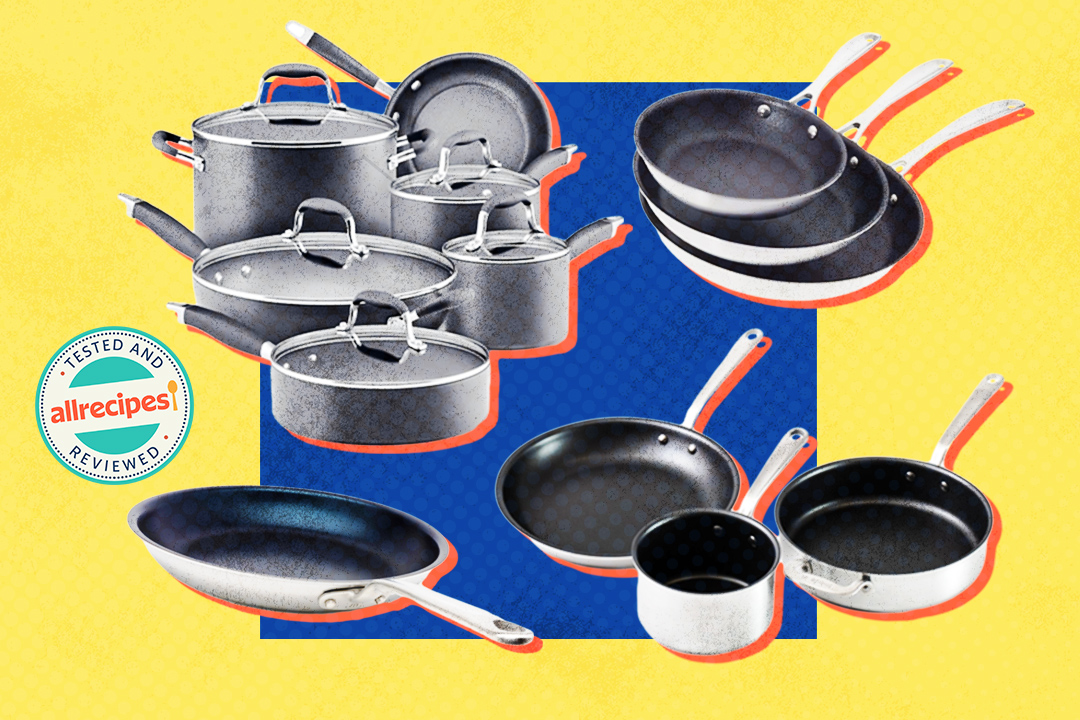 four cookware sets on blue and yellow background