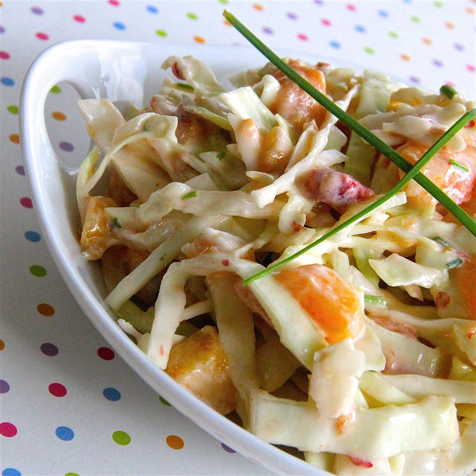 cabbage slaw with peach slices