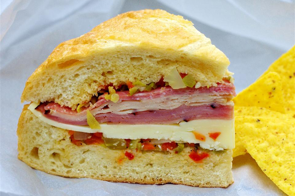 Real N'awlins Muffuletta on parchment paper