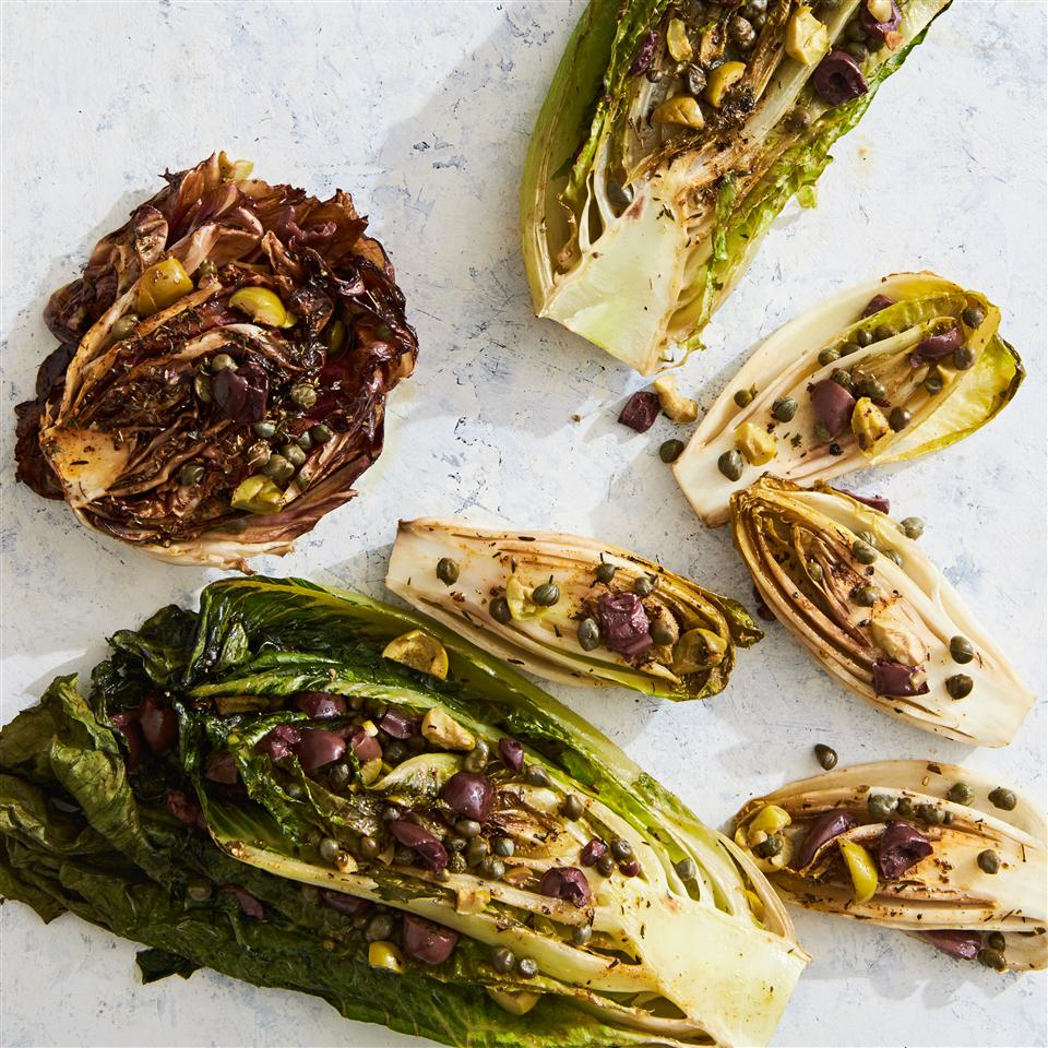 roasted halves of lettuce, endive, and radicchio stuffed with capers, olives, and herbs