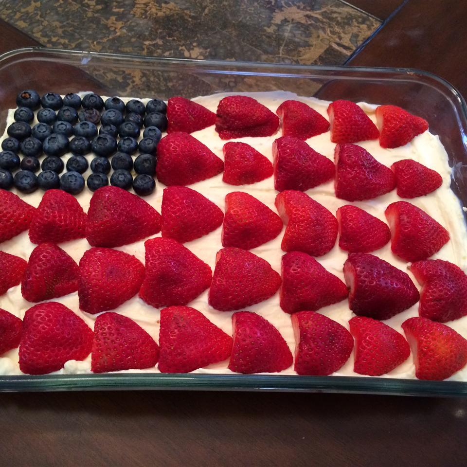 Chef John's American flag cheesecake with strawberries and blueberries