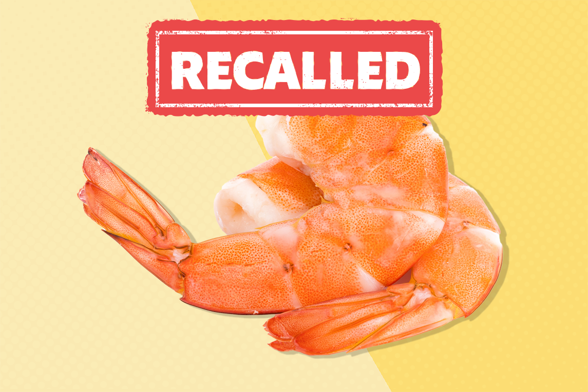 a yellow background with two shrimp and the word recall