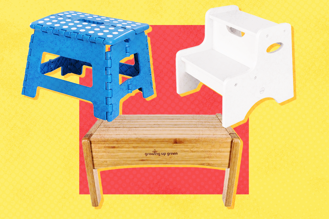 3 child friendly stools on a colorful background