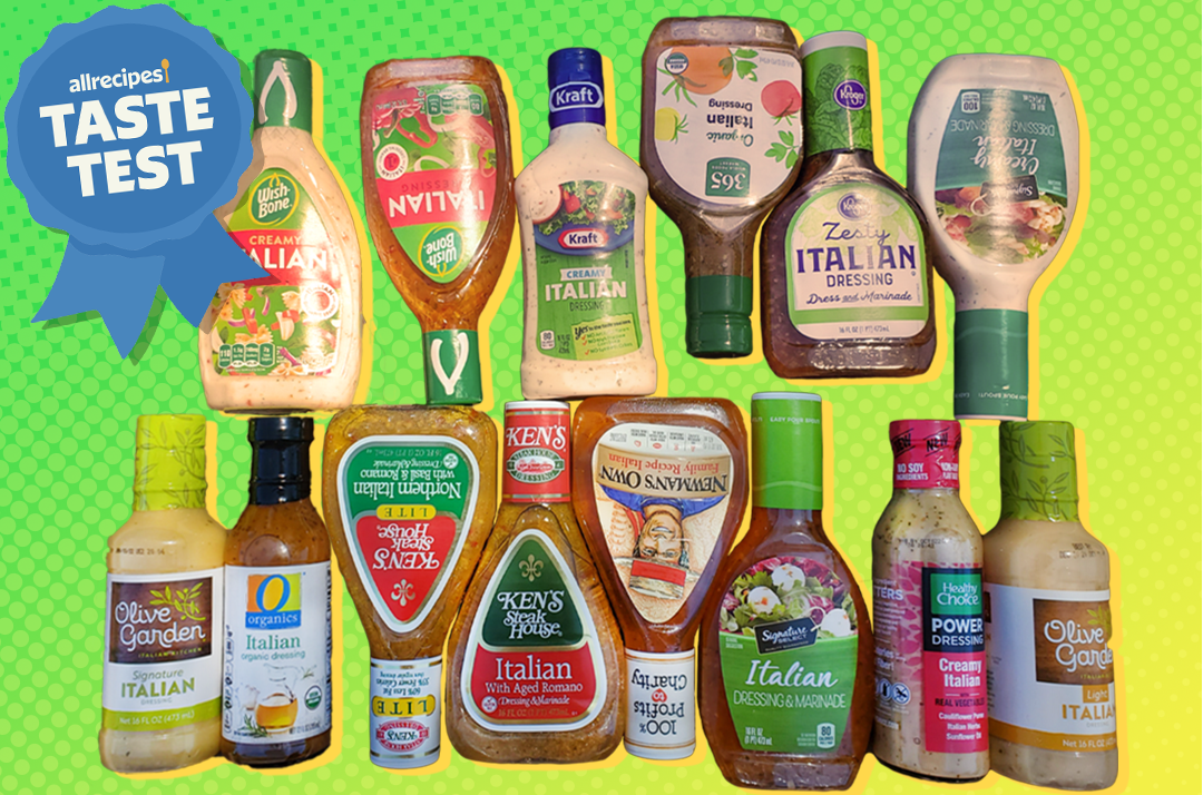 various italian dressings arranged against a bright background