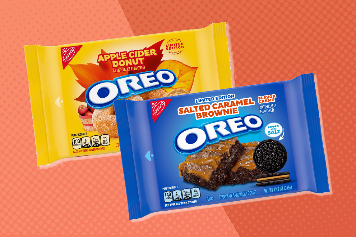 new oreo flavors - apple cider donut and salted caramel brownie