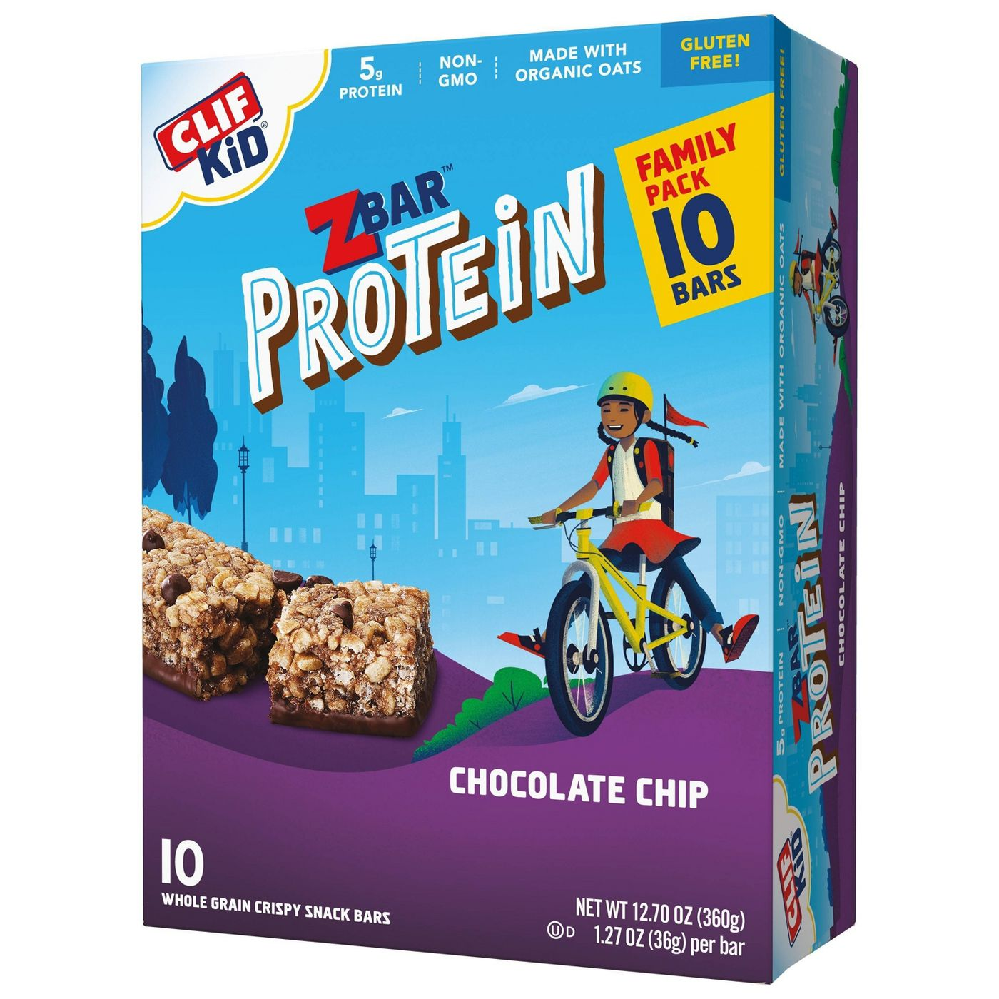 box of CLIF Kid ZBAR Protein Chocolate Chip Snack Bars