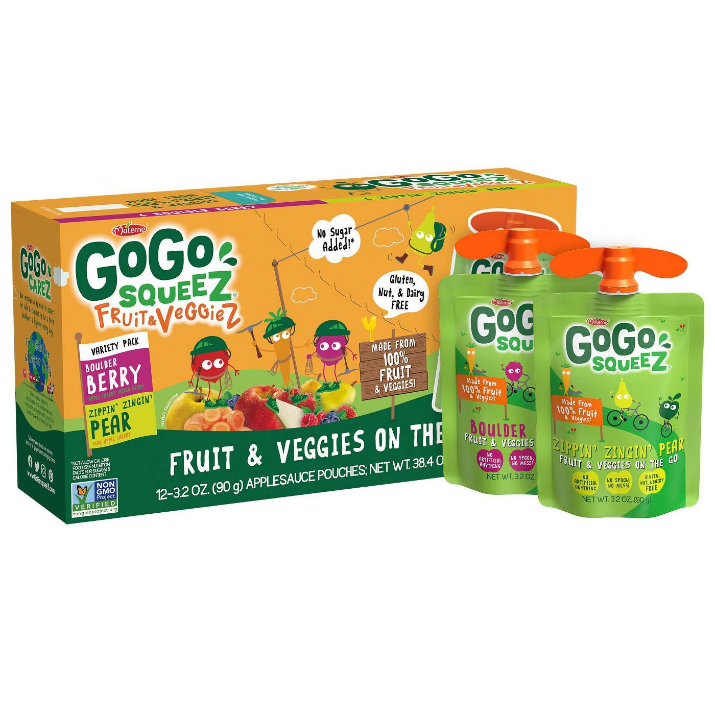 box of GoGo SqueeZ Variety Fruit and Veggies Applesauce On-The-Go Pouch with two pouches