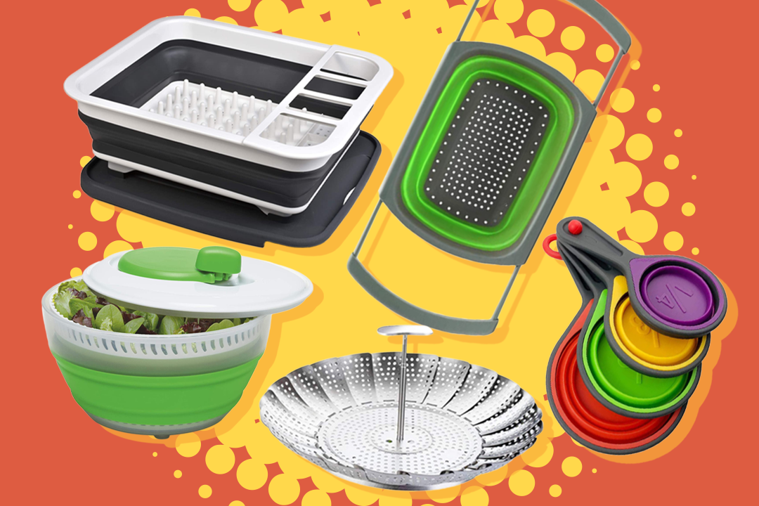 a collection of collapsible tools on a orange background with yellow burst