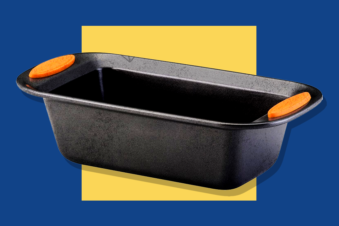 rachael ray yum-o nonstick loaf pan on a blue background with yellow square in center