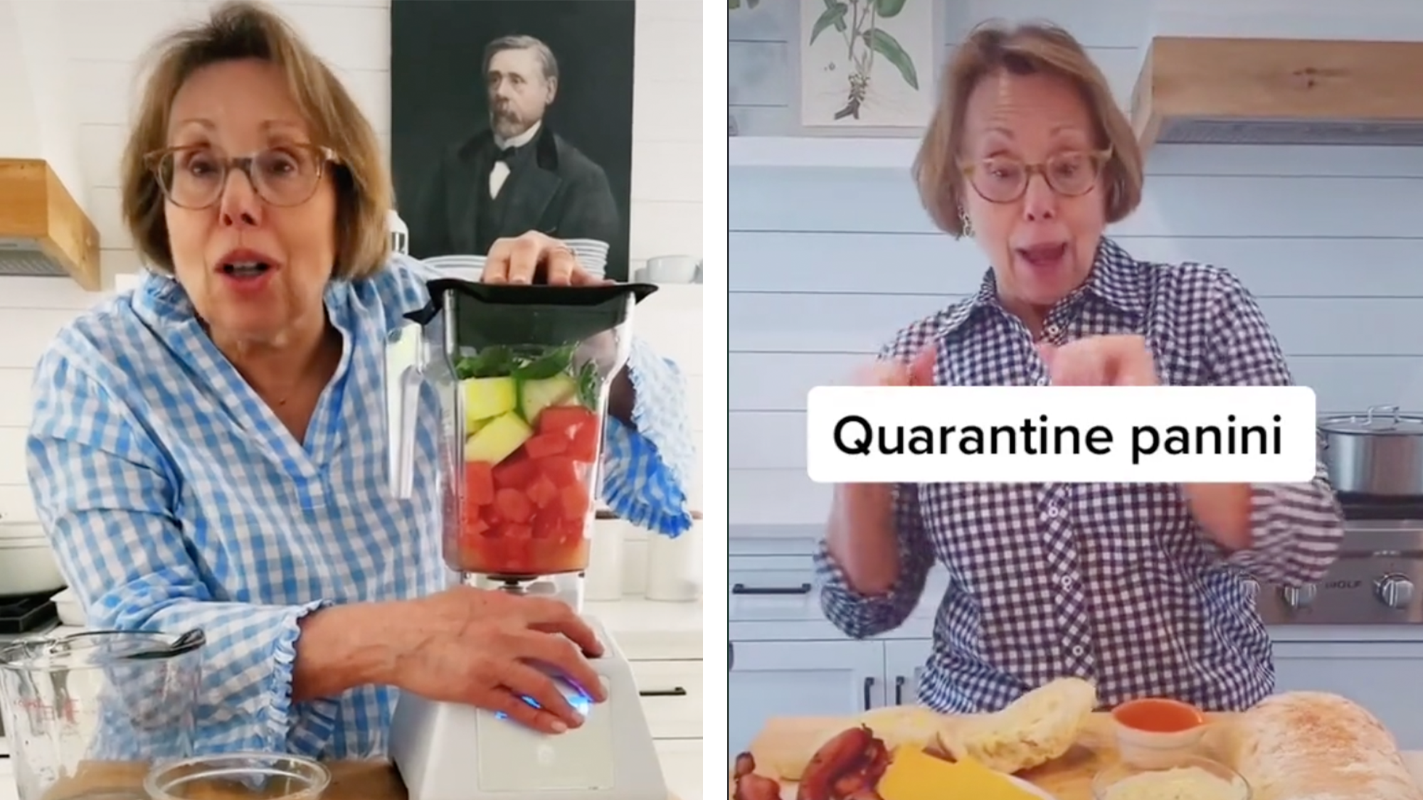 woman is cooking in two side-by-side photos