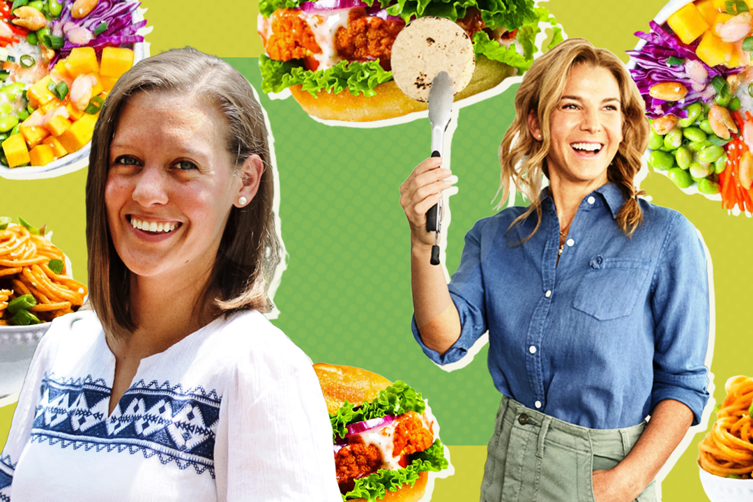 Jessica Seinfeld and Kelsey Riley on green background with vegan dishes