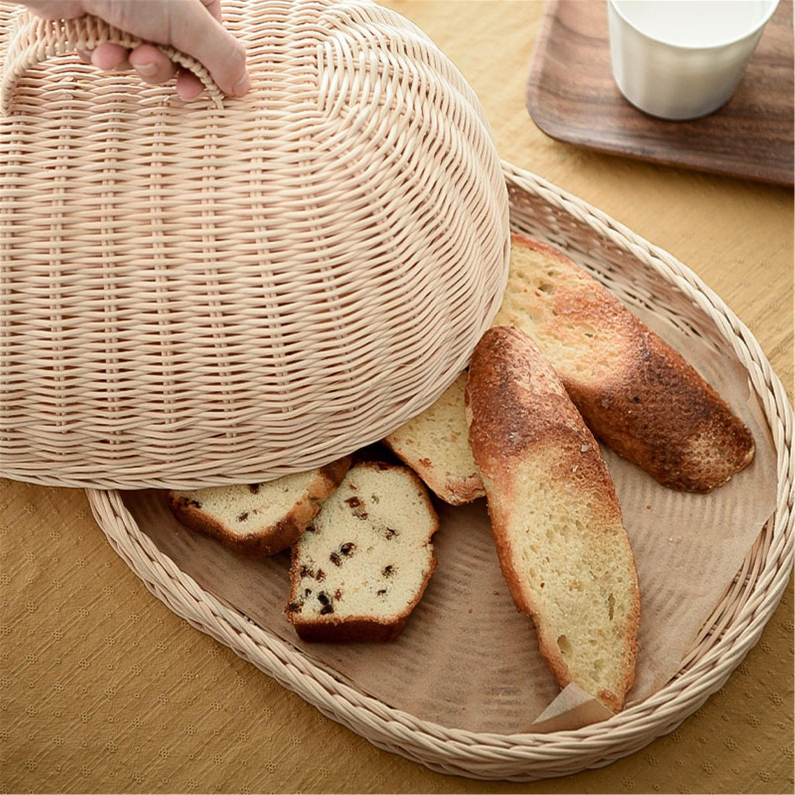 Hand knit rattan food cover