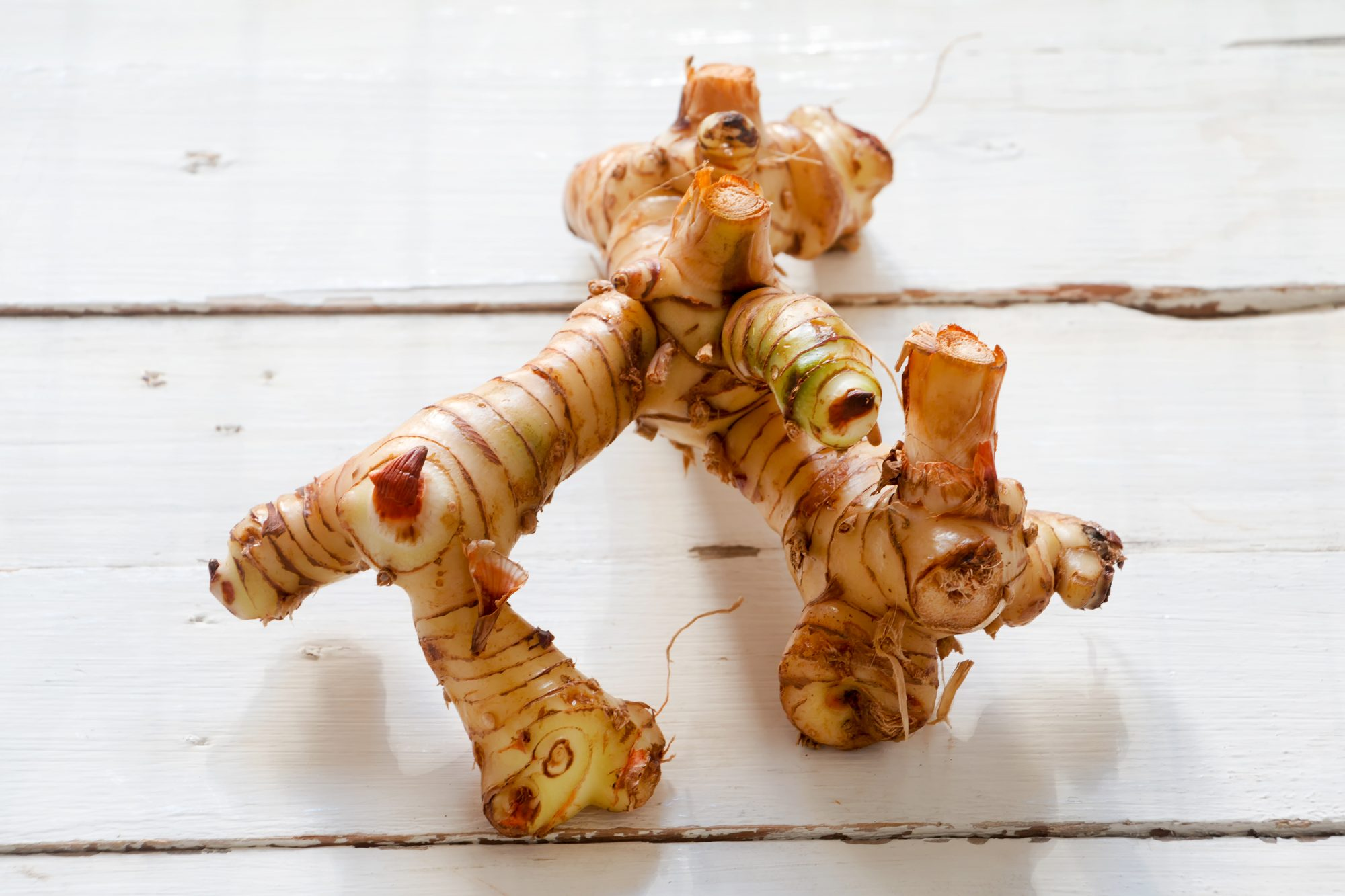 Galangal root on a white wooden background