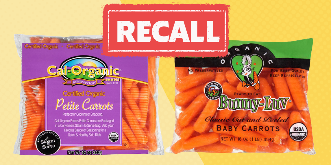 two bags of baby carrots side by side with recall sticker on top