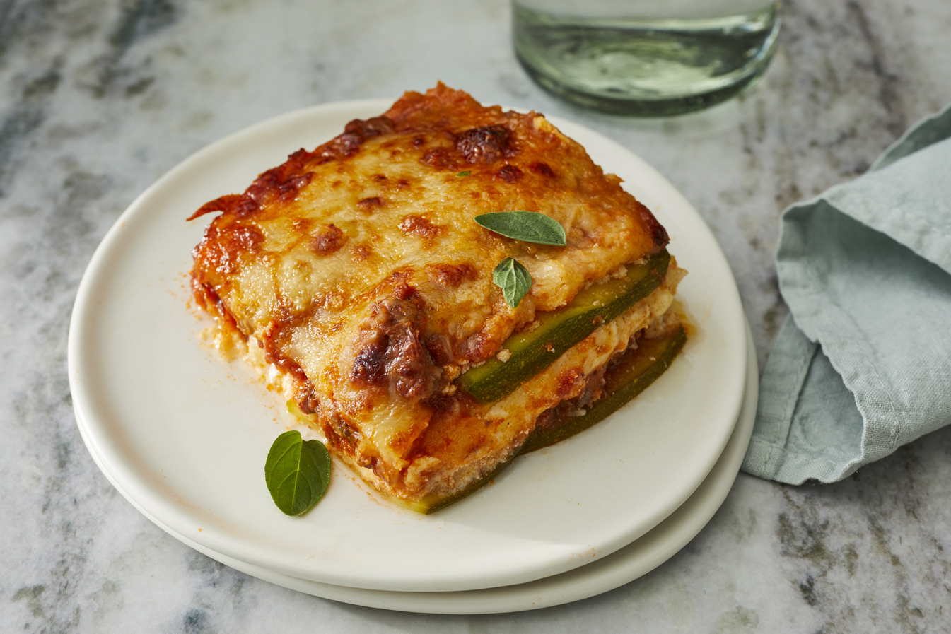single plated slice of low carb zucchini lasagna