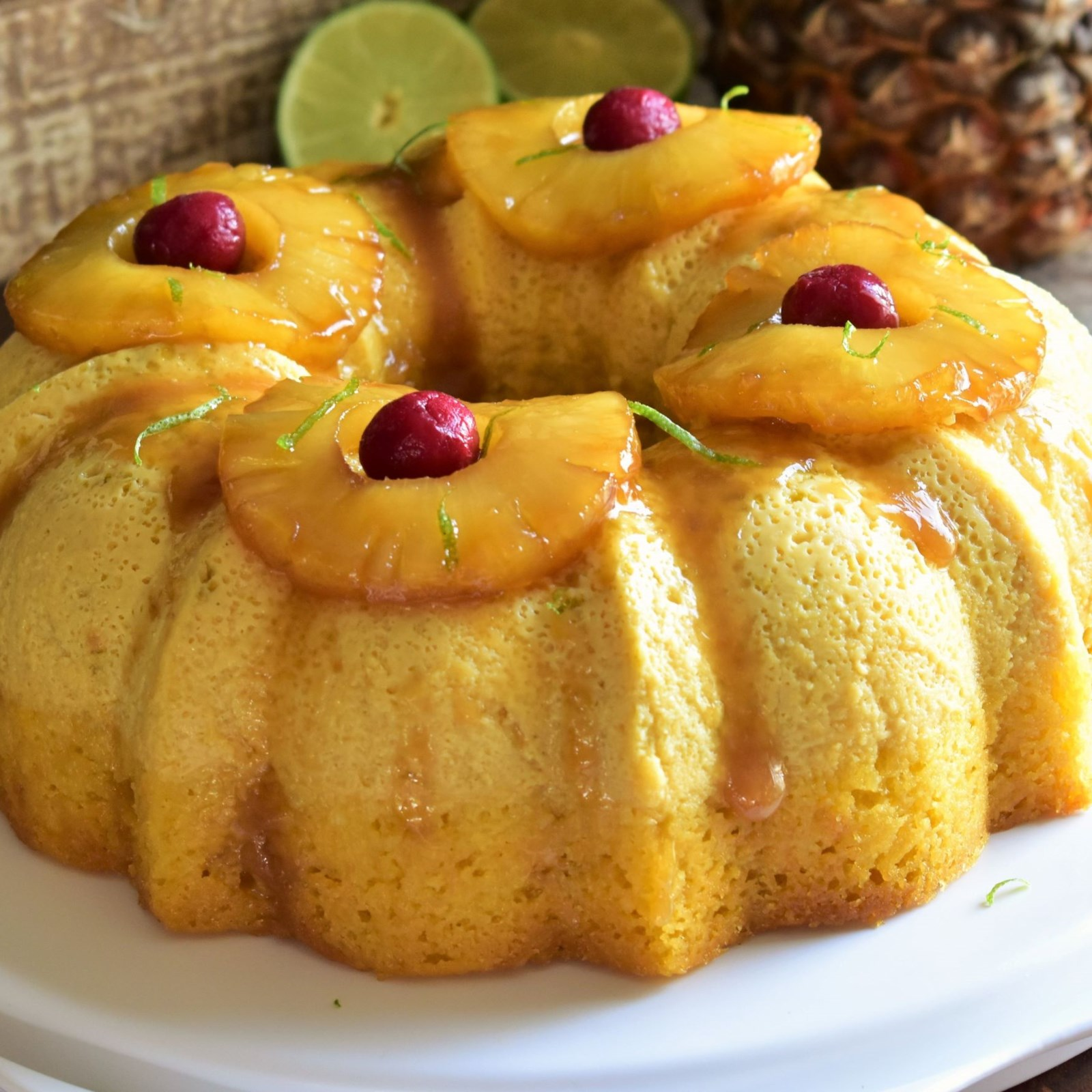 pineapple lime impossible cake baked in a Bundt pan