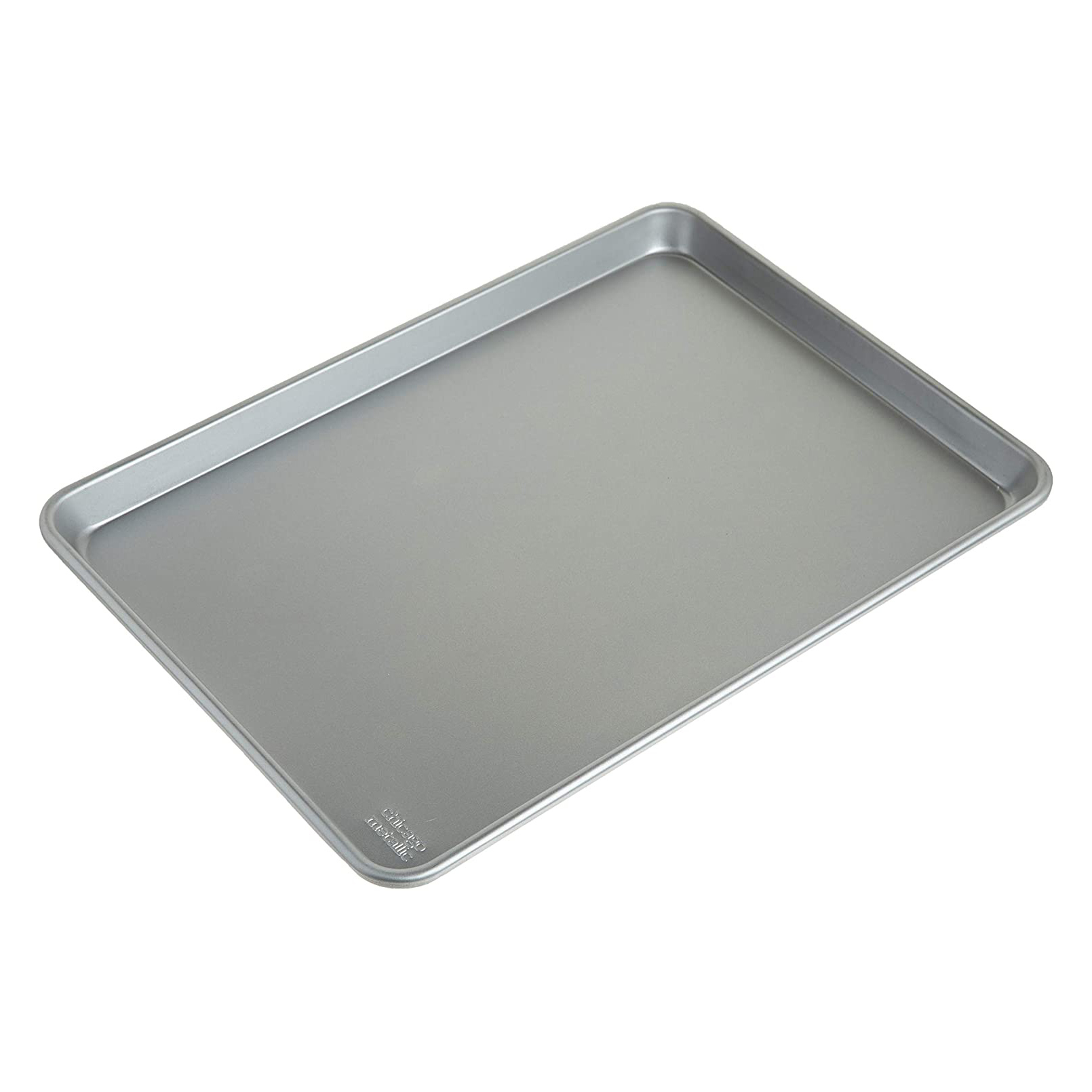 aluminum jelly roll pan on white background