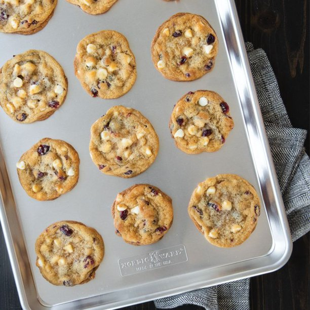 aluminum baking sheet with cookies on it