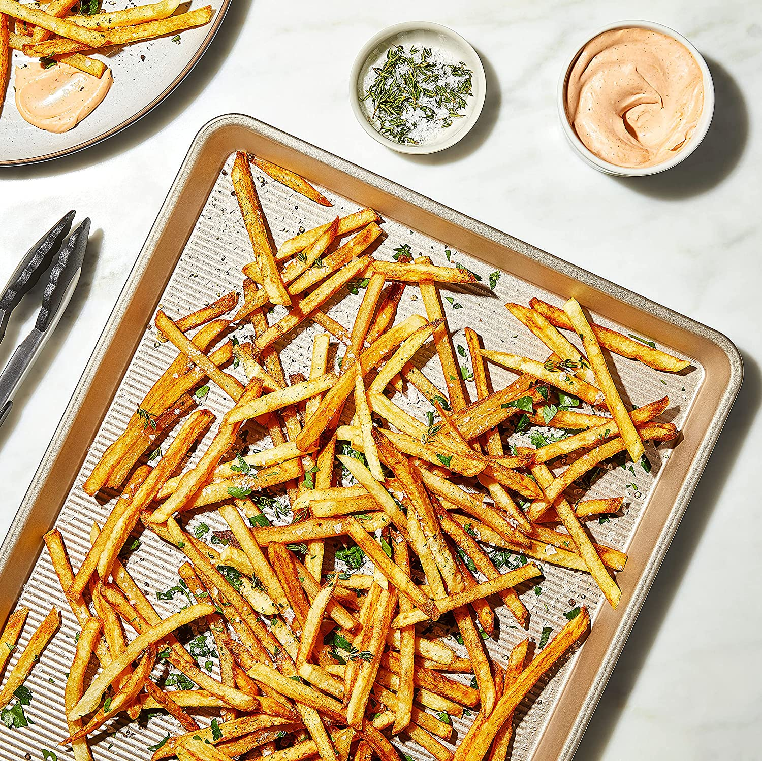 baking sheet with textured surface with french fries