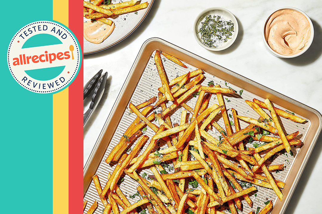 baking sheet with fries with multi color banner