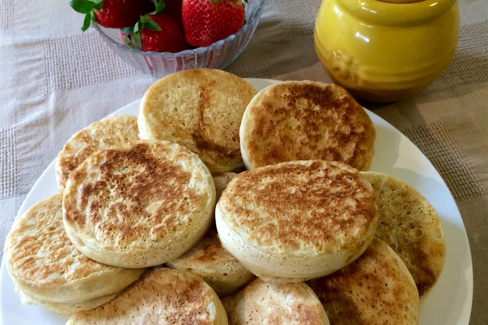 crumpets on a white plate