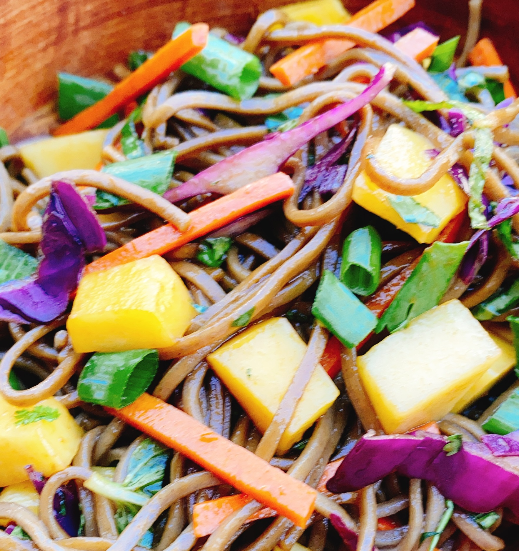 Cold Soba Noodles with Herbs and Mango