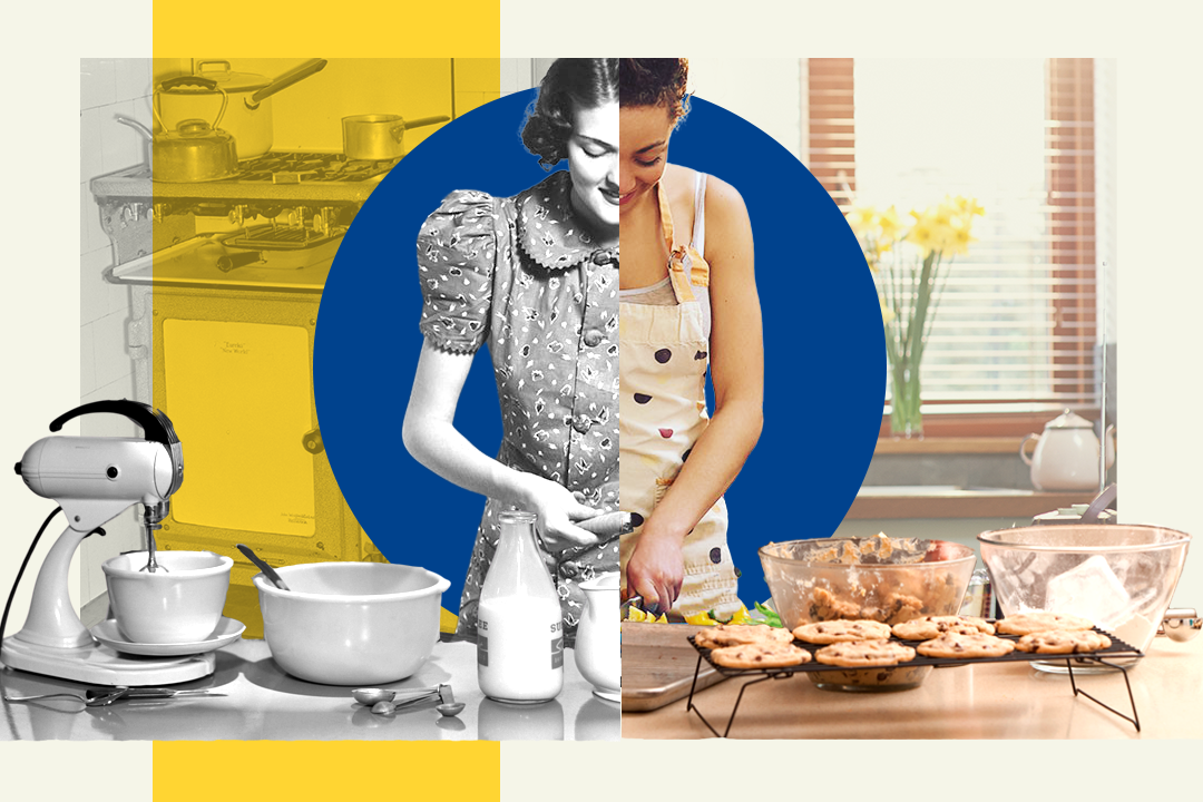collage illustration of a woman adapting a vintage recipe for a modern kitchen