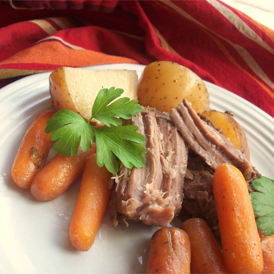 The slow cooker makes tough, cheaper cuts of beef like chuck roast fork tender. We love this classic pot roast because it's a whole meal in one — meat, potatoes, and carrots —no need for any additional side dishes.