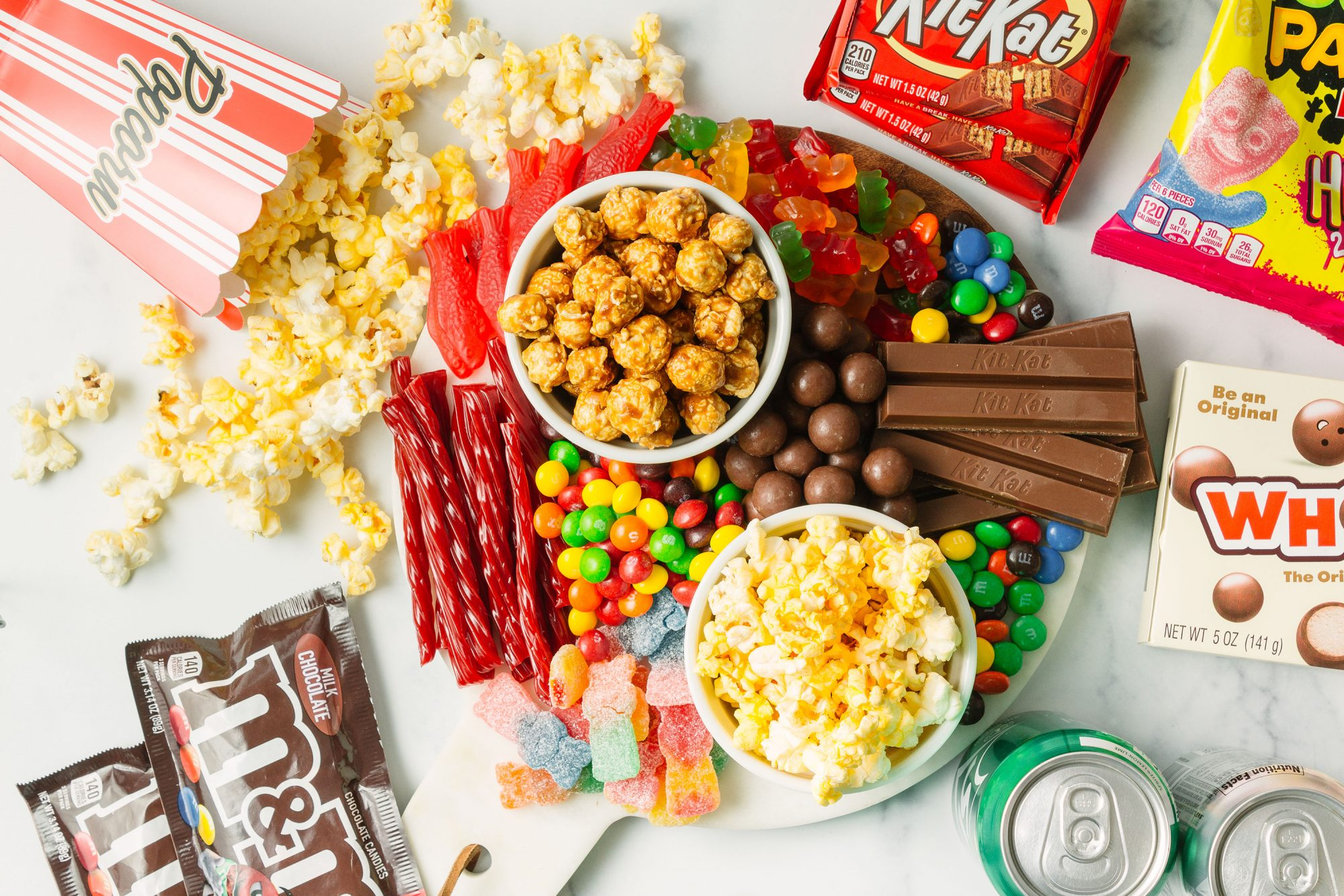 candy popcorn snacking board