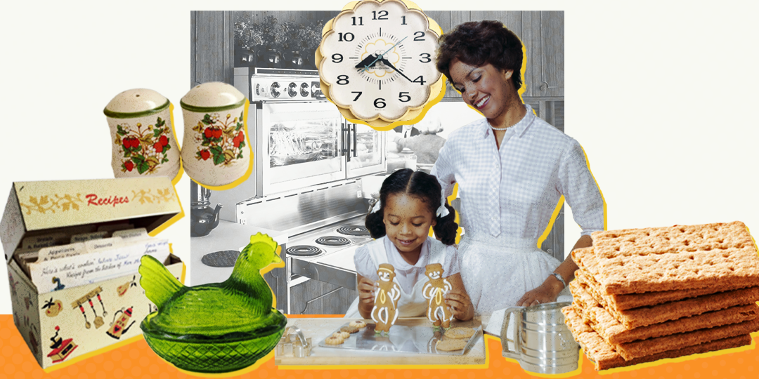 grandmother and grand daughter in the kitchen with vintage kitchen products