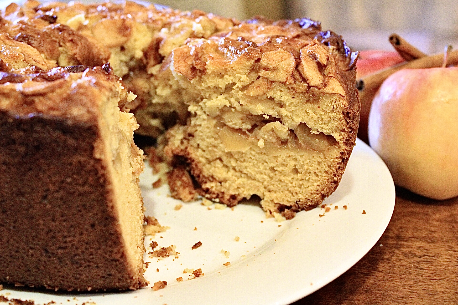 jewish apple cake with a slice removed