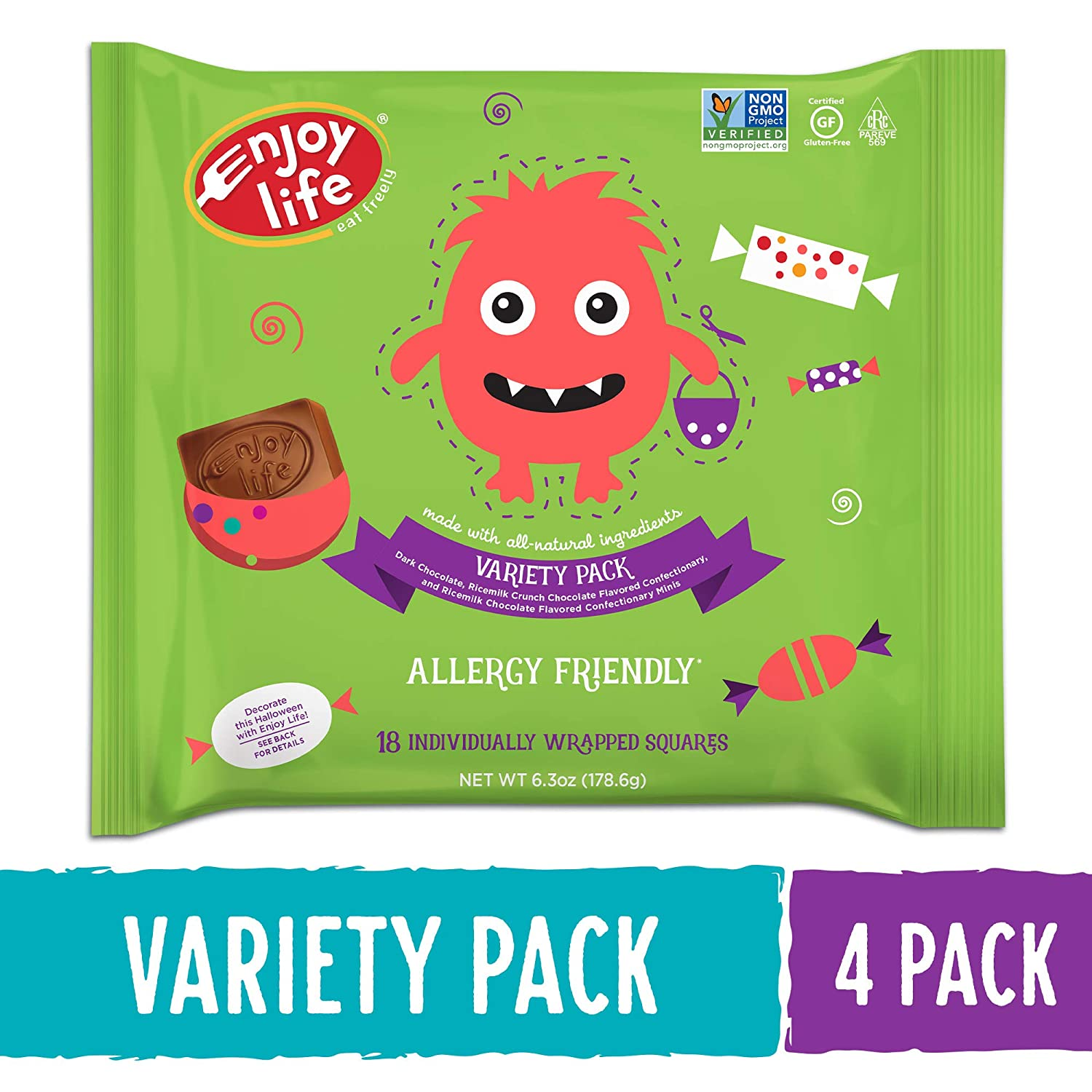 bag of Enjoy Life allergy friendly chocolates with cute monster illustration for Halloween
