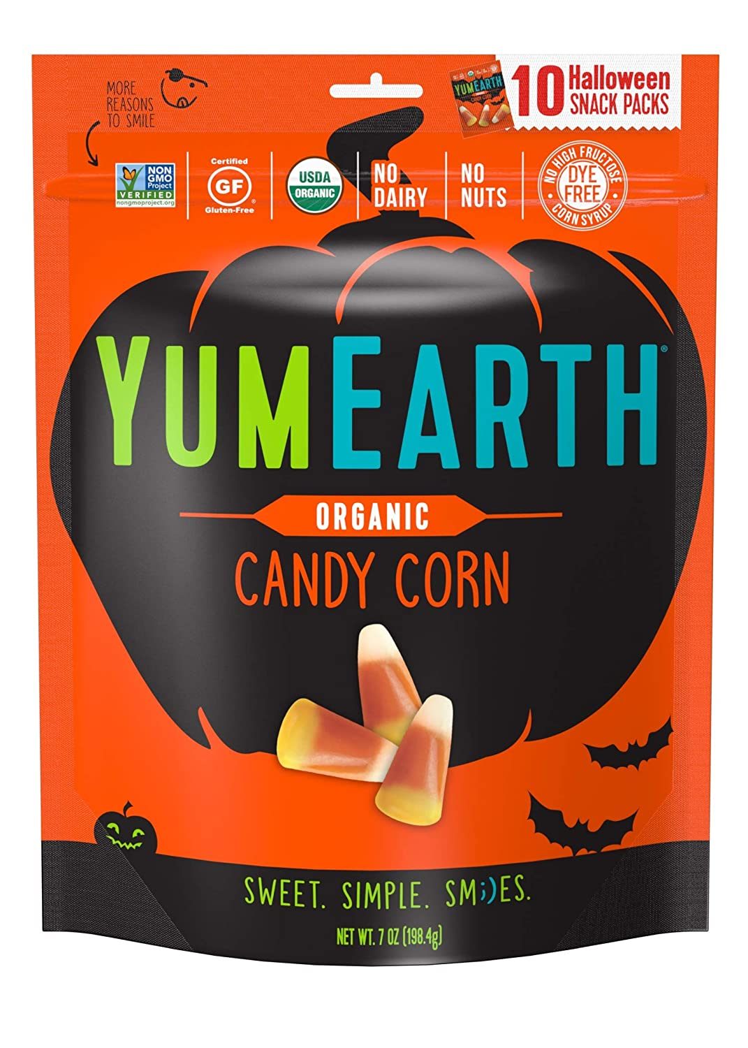 pack of Yum Earth Organic Candy Corn with Halloween pumpkin illustration