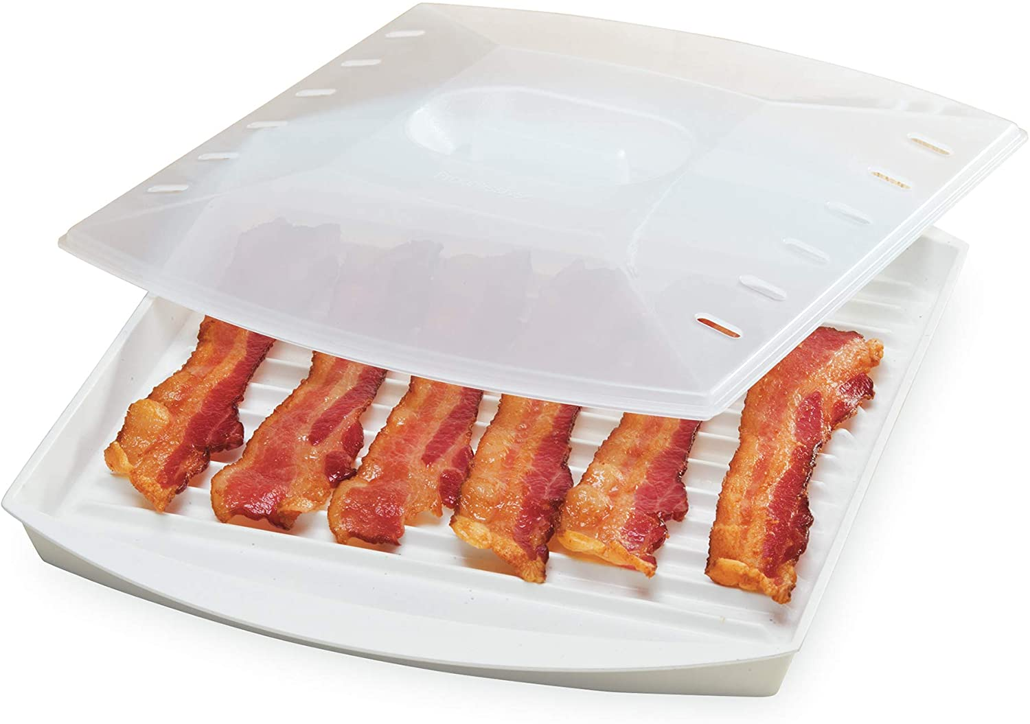microwave bacon plate with bacon and lid