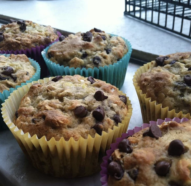 """""""Moist muffins with just the right combination of banana and chocolate chips,"""" says recipe creator Nichole. """"A healthy alternative to most banana chocolate chip muffins, this one uses oats and substitutes apple sauce instead of cooking oil."""""""