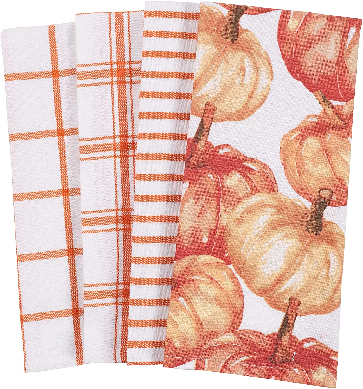 set of four dish towels with stripe and pumpkin patterns