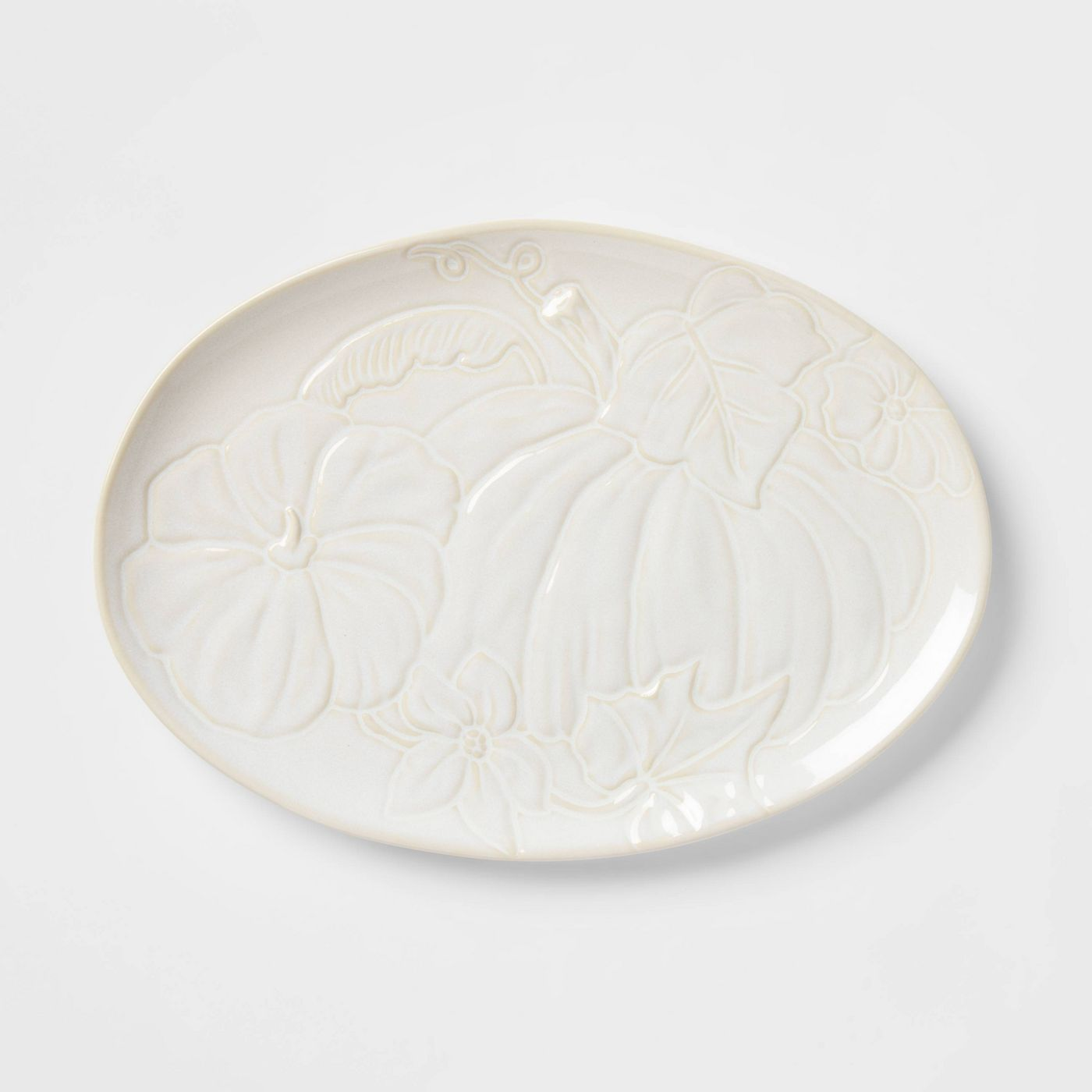 oval stoneware serving platter with pumpkin engraving