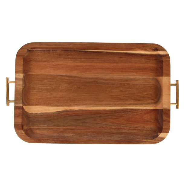 wooden serving tray with gold colored handles