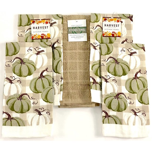 four green and white dish towels and one beige dish towel