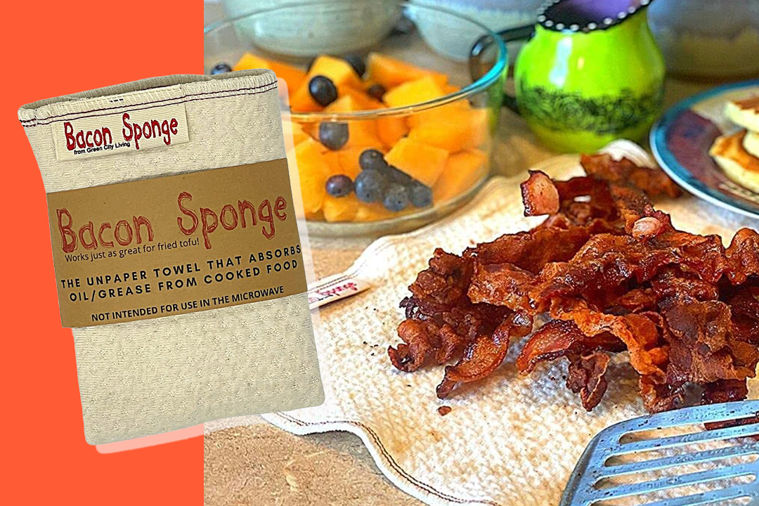 bacon pile on top of bacon sponge with bacon sponge image to the left on an orange background