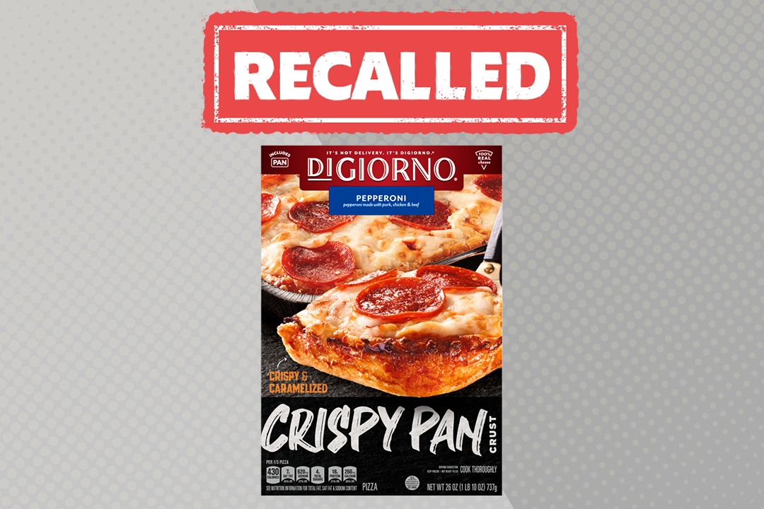 """a box of DiGiorno Pepperoni Crispy Pan Crust pizza on a gray background with a red """"Recalled"""" sticker"""