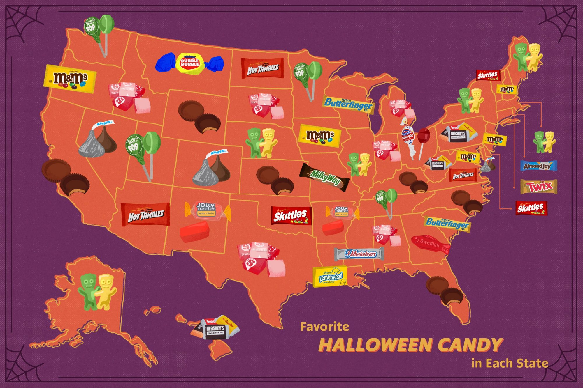 graphic image of a map of the United States showing which Halloween candies are the most popular in each state