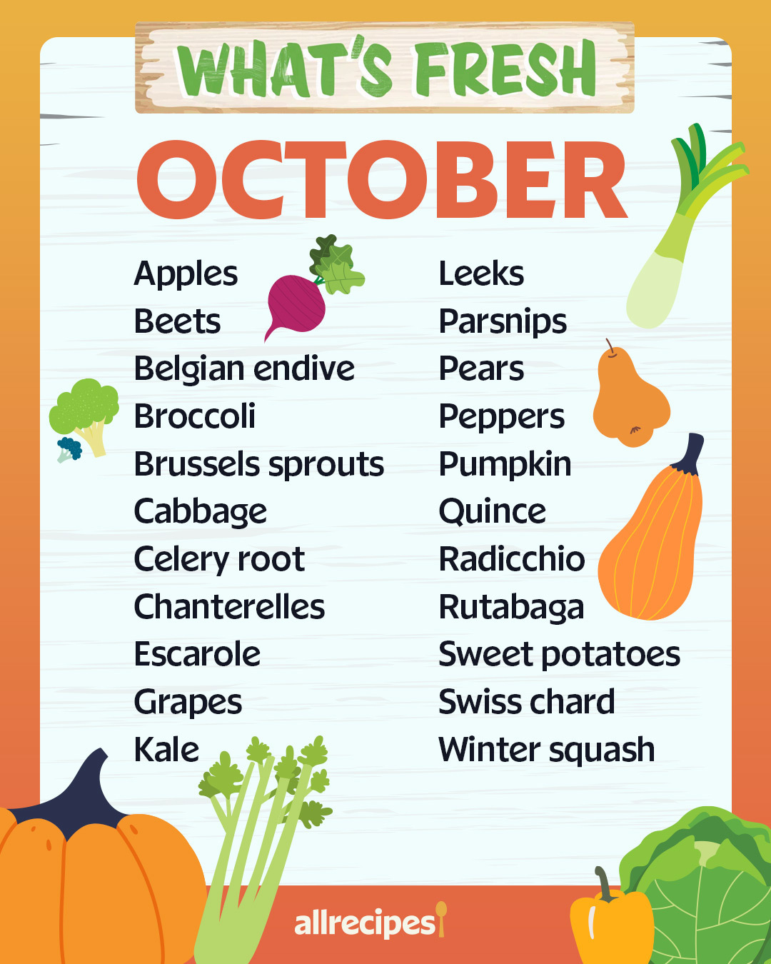 What's Fresh October Produce List
