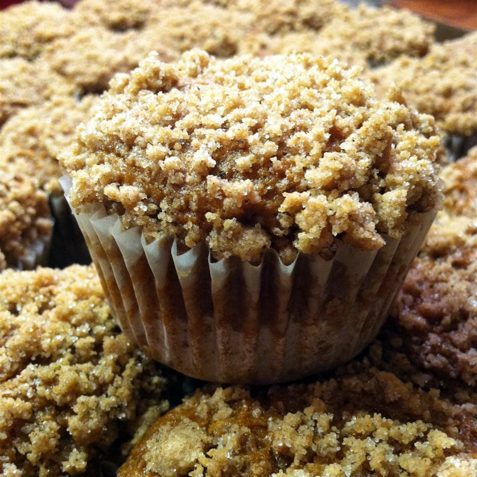 closeup of a streusel-topped muffin